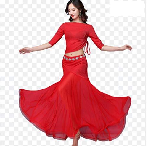 ZYLL Top Belly Dance Costume Skirt Set Big Swing Gonna per Le Donne Danza del Ventre Outfit Top e Gonna del Vestito Ballerino Pratica Dress,Rosso,XL