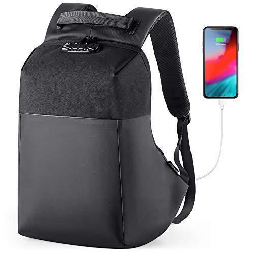 NATURALIFE Laptop Rucksack 15,6 Zoll Anti-Diebstahl, Wasserdicht rucksack für Männer Herren mit USB Ladeanschluss, Schulrucksack für Arbeit Business Wandern Reisen Camping(Schwarz)