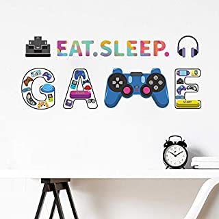 Gamer Wall Decals Eat Sleep Game Wall Stickers for Boys...