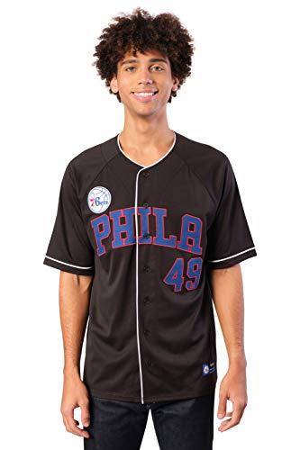 Ultra Game NBA Herren Mesh Button Down Baseball Jersey Tee Shirt, Herren, Men's Soft Button Up Baseball Jersey Mesh T Shir, schwarz, XX-Large