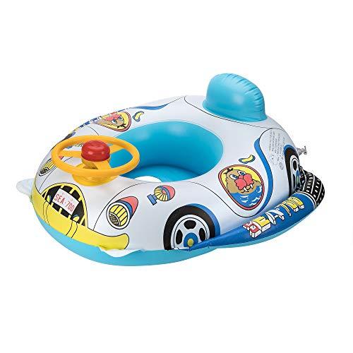 OKCS Gummiboot für Kinder Seelöwen Motiv Schlauchboot Pool Schwimmen Strandboot Junior Schwimmbad Badespaß - in Weiß/Blau mit gelben Lenkrad und Hupe