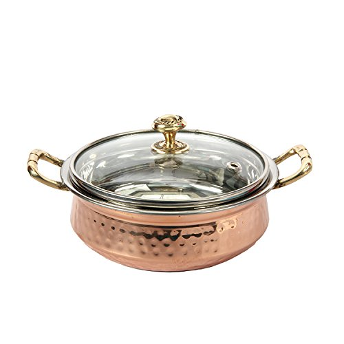 Aheli Indian Hammered Copper Serving Bowl for Food Soup with Glass Lid Decorative Small Kitchen Serveware