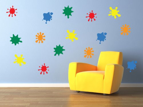 Vinyl Concept - Children's Wall Stickers, Nursery Paint Blobs Wall , Kids Removable, Easy To Remove, Kids Wall Stickers, Art Mural, Art Decor, Sticker Diy Deco : Mixed As Pictured -- Large by Vinyl Concept