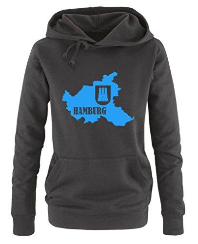 Comedy Shirts - Hamburg Landkarte mit Wappen - Damen Hoodie - Schwarz / Blau Gr. XXL