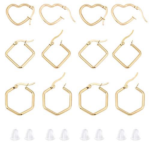 UNICRAFTALE 36pcs 3 Estilos Pendientes de Aro de Oro Corazón Y Hexágono Y Rombo Alambres para los Oídos de Acero Inoxidable Componentes Hipoalergénicos