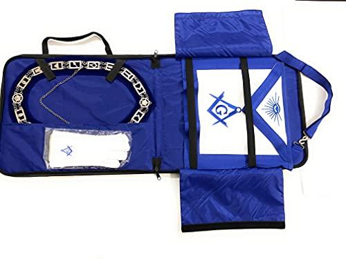 Masonic Regalia Past Master Mason Blue Lodge Apron Square Chain Collar and Compass Gloves with Lightweight Masonic Regalia Soft Case/Apron Holder Set