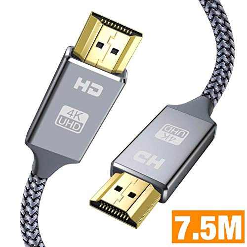 Cable HDMI 7.5 Metros, Cable HDMI de Alta Velocidad soporta Ultra HD, Ethernet,3D,2160P, 1080P,BLU-Ray,Xbox 360 TV, Playstation PS3,PS4, HDTV,Arco,HDCP 2.2,HDR