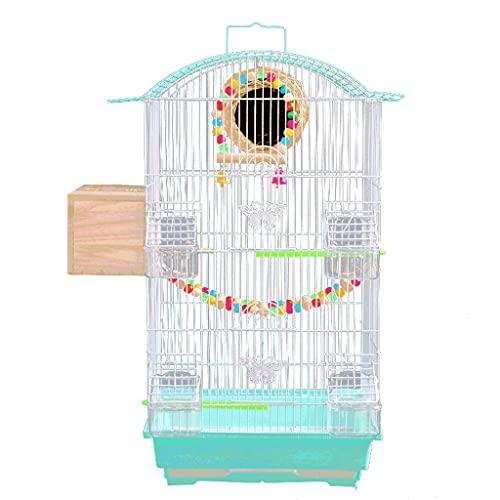 Gabbie per uccelli decorative Gabbia per uccelli con giocattolo di gioco e supporto per il rotolamento, grande gabbia di volo dell' uccello in ferro battuto per pappagalli Conre lovebird ecc.-Blu