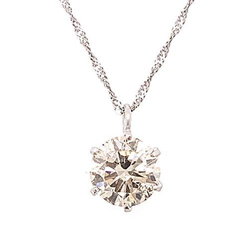 【KASHIMA】鑑別書付 純プラチナ 0.5ct ダイヤモンド ペンダント Pt850スクリューチェーン シャンパンカラー ブラウン