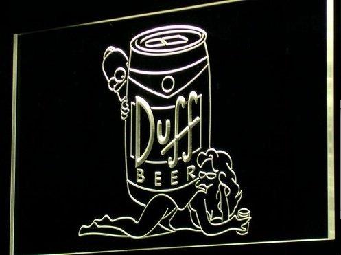 Simpsons Duff Cerveza LED Caracteres Publicidad Neon Cartel Gleb