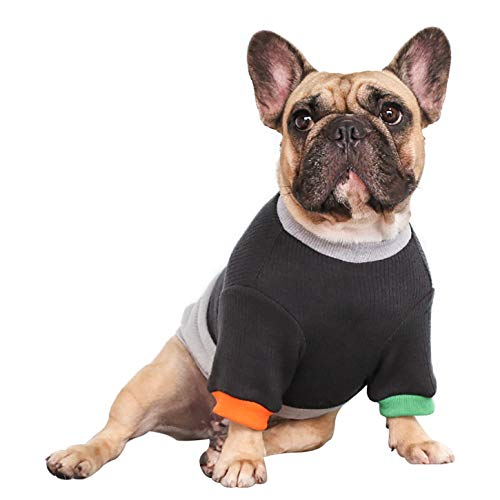 iChoue Pet Dog Crewneck Sweater Color Block Pullover Winter Warm Clothes for French Bulldog Frenchie Shiba Inu - Black and Grey/M