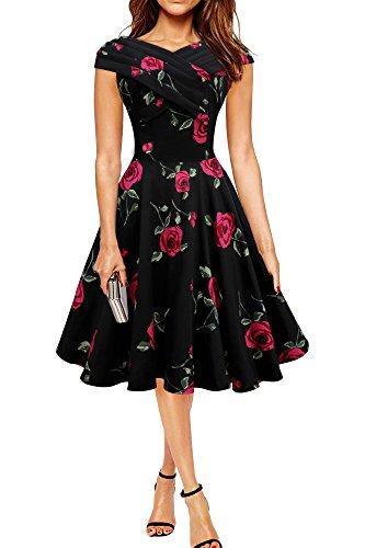 Vestido Vintage Pin-Up Infinity (Grandes Rosas Rojas, ES 38 - S)