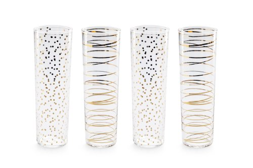 Rosanna 94985 Luxe Moderne Champagne Flutes, Clear/Gold, Set of 4