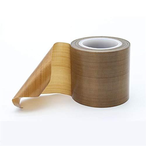 PTFE Coated Fiberglass Telfon Tape,high Temperature Tape,Drying Mechanical Conveyor Belt, Welding Sealing Tape,Teflon Tape for Vacuum Sealer Machine(Brown, 50mm x 11yards(33feet) x 0.18mm)