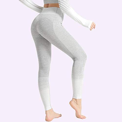 Leggings deportivos de cintura alta para mujer, pantalones de Yoga para mujer, mallas elásticas con rayas de gradiente, mallas sin costuras, entrenamiento de gimnasio, ropa deportiva para correr