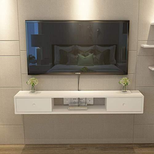 ZXYY wandgemonteerde tv-kast links en rechts schuifdeuren opknoping wandkast muur plank drijvende plank kleine elektronische items opslag plank TV console tv-standaard (kleur: bruin grootte: 140cm) 140cm-white