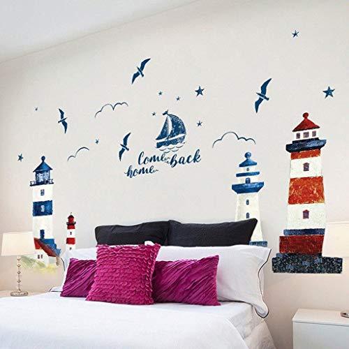 WWWWW Muurstickers zee zeilen vuurtoren navigatie boot Seagull Ocean Home Muursticker applicatie Muurschildering Decoratie 190 * 118 cm Behang Muursticker