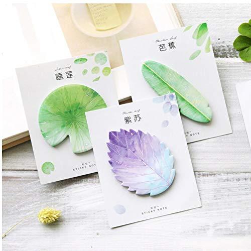 Oulensy 3Pcs Kawaii Natural Plant Blatt Sticky Note Notizblock Hinweis Büroplaner Aufkleber Papierware Schulbedarf lila