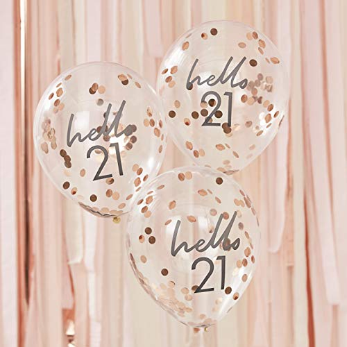Ginger Ray Globos decorativos de confeti con diseño de Hello 21 cumpleaños, 5 unidades, color oro rosa