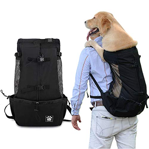 Woolala Dog Backpack Carrier Rucksack Puppy Head Out Front Pack with Waterproof Lining, Small Pet Travel Bag for Hiking Walking Bike