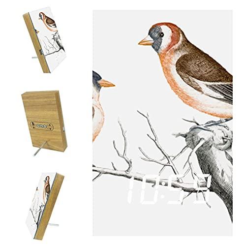 Bennigiry Dos pájaros en la rama LED Digital Relojes de carga USB Despertadores para oficina, cocina, sala de estar, decoración del hogar