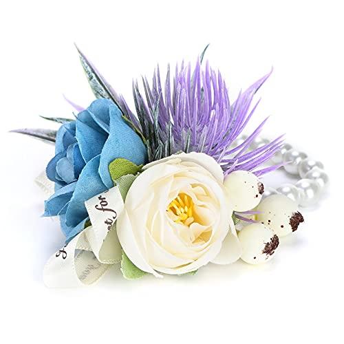 01 Fiore da Polso, Fiore a Mano alla Moda Artificiale Puro ed Elegante per l'anniversario del Ballo...