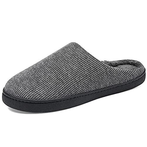 Pantuflas cálidas pantuflas para hombre, de espuma viscoelástica, con forro antideslizante, gris, 44 EU