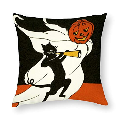 Jack O' Lantern Black Cat Ghost Horn Throw Pillow Covers Case Cushion Pillowcase with Hidden Zipper Closure for Sofa Home Decor 22 x 22 Inches