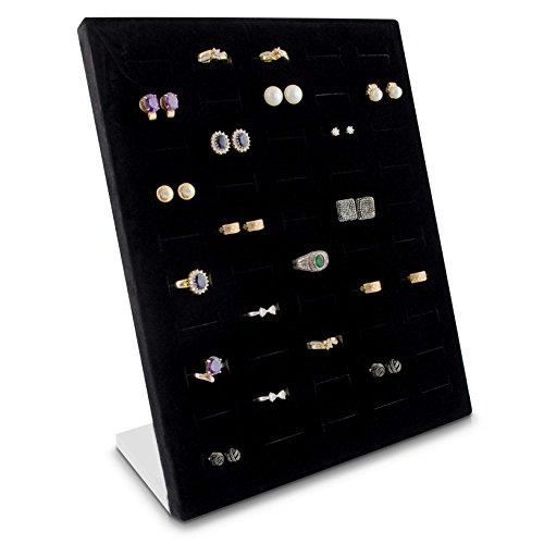 Grinscard - Schmuckdisplay für 50 Ringe & Ohrringe Organizer für Schmuck Aufbewahrung & Präsentation - 26 x 20 x 9 cm - schwarz