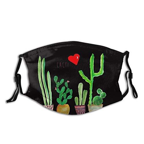 Cacti Cactus Love Artical Cubierta de la cara del polvo para interior lavable, reutilizable, a prueba de polvo, juego de ciclismo y otros suministros multifuncionales comunes con 2 filtros