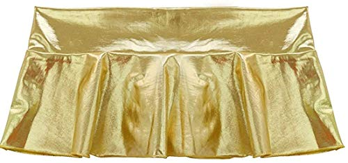 Jaanshi Women's Metallic Shiny Faux Leather Sexy Nightclubwear Micro Mini Skirt Dress (S, Gold)