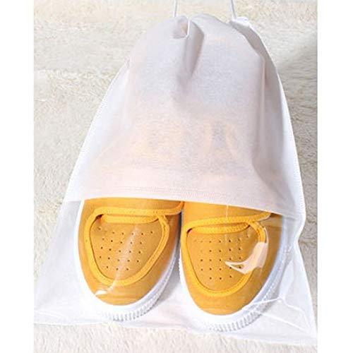 10 PCS防水靴収納袋ポーチポータブル旅行オーガナイザー巾着袋カバー不織布オーガナイザー、サイズ:27x36cm(ブラック) WXW (Color : White)