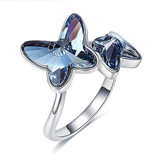 Anillo de plata de ley S925, personalidad de moda europea y americana de gama alta elegante mariposa azul anillo abierto elemento Swarovski joyería de cristal regalo para mujeres y niñas