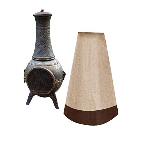QEES Outdoor Patio Chiminea Cover Chiminea Protection with Waterproof, Clay...