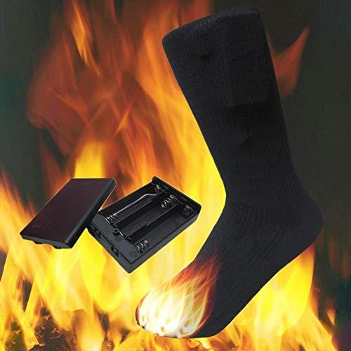 Chaussettes chauffantes en coton de 4,5 V | Chaussettes chauffantes unisexes double couche | Chauffage lectrique Chaussettes chaudes pour la chasse au ski en hiver Camping Randonne Randonne