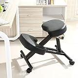 QIQIDEDIAN Chaise Ergonomique Ergonomique Position Correcte Genoux Chaise De Bureau Chaise Chaise Ordinateur avec Hauteur Réglable Noir Poulie (Color : Black, Size : Mesh Cushion)