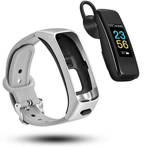 ODFIT Fitness Armband mit Blutdruckmessung Pulsmesser, Bluetooth-Kopfhörer-Fitness Tracker 2 in 1, intelligentes Armband, drahtloses Sportkopfhörer IPX7 wasserdicht für weibliche Männer (Silver)