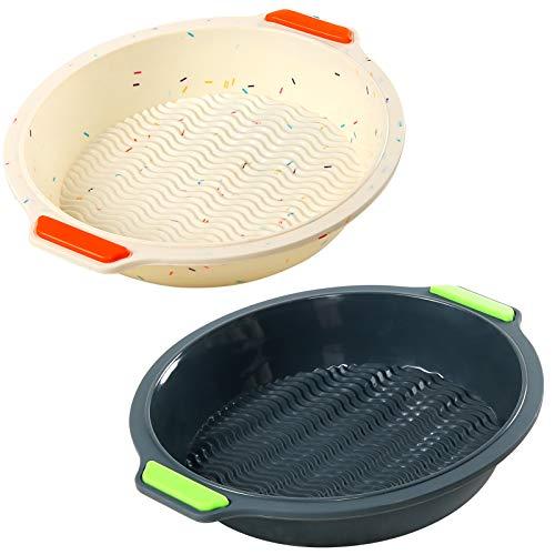 Paquete de 2 sartenes redondas de silicona de 25,4 cm, para hornear moldes de silicona reutilizables para hornear tartas (beige y negro)