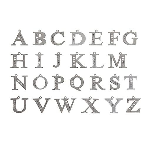 Ornaland Colgante de Letras Colgantes de Acero Inoxidable Encanto del Alfabeto Letra A ~ Z Colgante Conjunto de Diamantes de Imitación Letras Encantos Colgantes Hallazgos de Joyería Hacer Accesorio