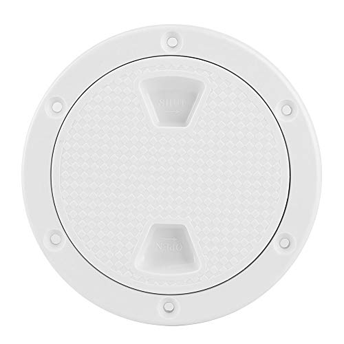 Ladieshow Boat Accessory 4in ABS Deck Plate Round White Anti UV Corrosion Resistant Screw Out Boat Inspection Hatch Cover