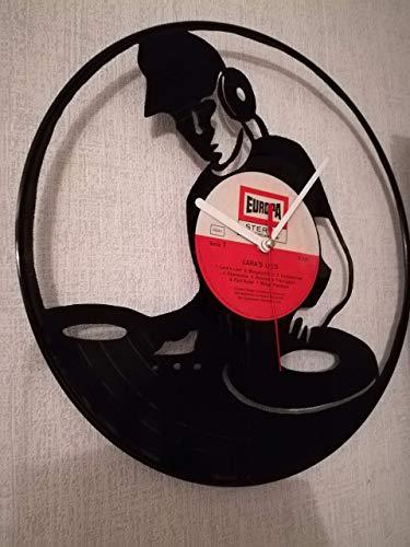 Wanduhr aus Vinyl Schallplattenuhr mit DJ Motiv upcycling design Uhr Wand-deko vintage-Uhr Wand-Dekoration retro-Uhr dj uhr