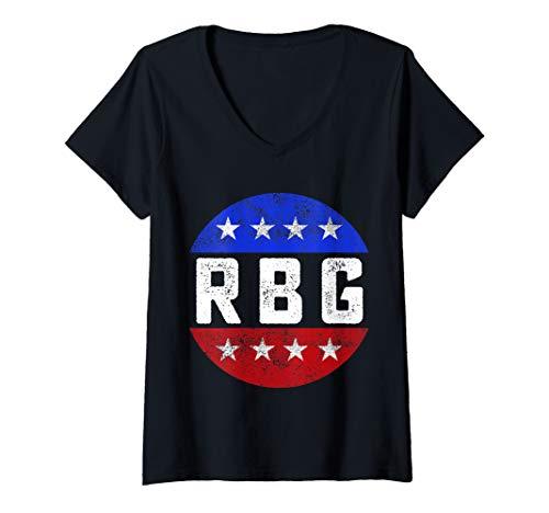 Damen RBG Notorious Vintage Retro Justice Ruth Bader Ginsburg T-Shirt mit V-Ausschnitt