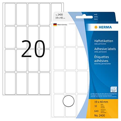 Herma 2400 Multifunctionele etiketten (19 x 40 mm) wit, 640 kleefetiketten, 32 vellen papier mat, zelfklevend, met de hand bedrukt