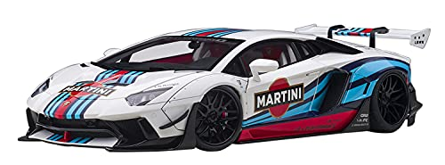 Lambo Aventador Liberty Walk LB-Works White with Martini Livery Limited Edition 1/18 Model Car by Autoart 79185