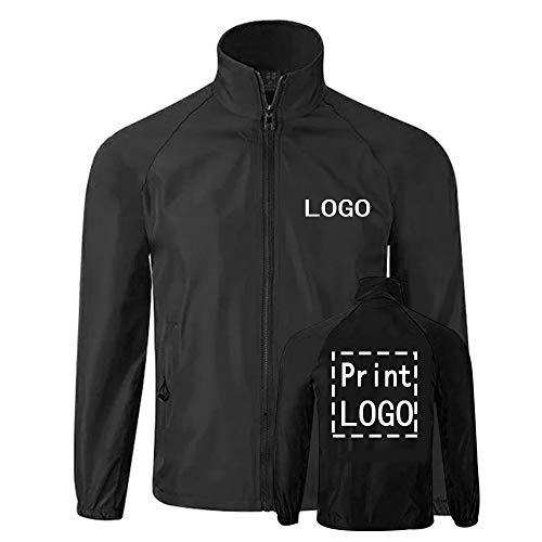 YOWESHOP Long Sleeve Shirts Windbreaker Customize Your Logo Workwear Jackets for Outdoor Team Work Uniform Unisex (Unisex M, Black)