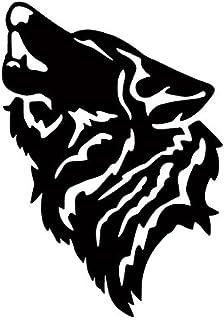 狼 おおかみ オオカミ WOLF ウルフ 遠吠え ハウリング 動物 シルエット マーク  ステッカー シール デカール (15cm×11cm, ブラック)