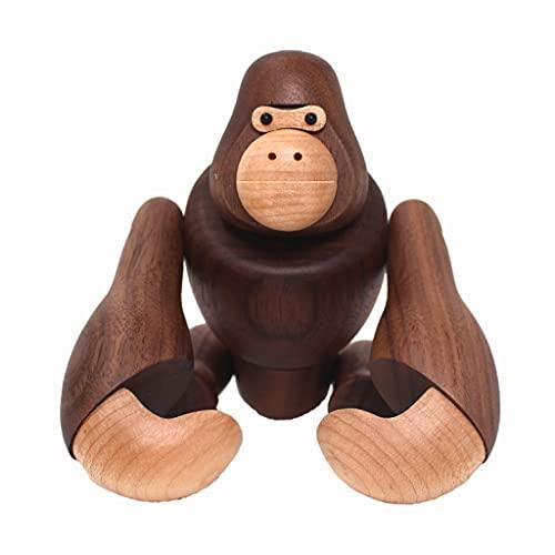 H HILABEE Chubby Chimpanzee Statue de Escultura de Madera de Pie Libre Decoración Interior