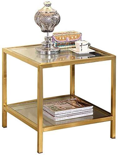 H-CAR Mesa de sofá, mesa auxiliar, cuadrada de 2 niveles, mesa pequeña de acero inoxidable, mesa de lectura para sala de estar, mesa de cristal simple, mesa de café, mesa de café