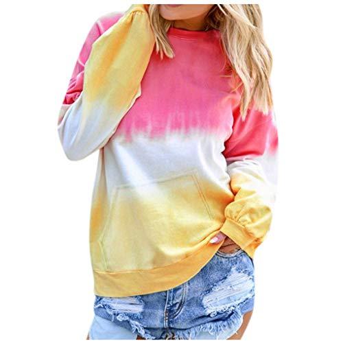 Dorical Sweatshirt Casual Langram Farbverlauf Farbblock Rundhals Pullover Tops Oberteile Tops Tunika Casual Mode Herbst Winter Langarmshirt(Z01-Rosa,Medium)