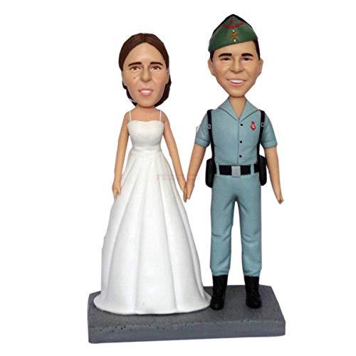 benutzerdefinierte Kopf Statue kaufen Bobblehead für Hochzeitstorte Topper Armyman Soldat Hochzeit Figuren Dekorationen Wohnkultur personalisiert